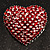 Burgundy Red Diamante Heart Brooch (Silver Tone) - view 5