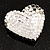 Burgundy Red Diamante Heart Brooch (Silver Tone) - view 7