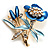 Blue Enamel Crystal Bunch Of Flowers Brooch (Gold Tone)