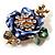Purple Enamel Crystal Flower Brooch (Gold Tone)
