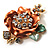 Gold Bronze Enamel Crystal Flower Brooch (Gold Tone) - view 3