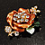 Gold Bronze Enamel Crystal Flower Brooch (Gold Tone) - view 4