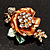 Gold Bronze Enamel Crystal Flower Brooch (Gold Tone) - view 2