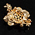 Gold Bronze Enamel Crystal Flower Brooch (Gold Tone) - view 6