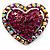 Bronze Tone Dazzling Diamante Heart Brooch (Magenta)
