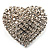 Clear Diamante Heart Brooch (Silver Tone)