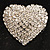 Clear Diamante Heart Brooch (Silver Tone) - view 2