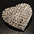Clear Diamante Heart Brooch (Silver Tone) - view 4