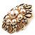 Vintage Wedding Imitation Pearl Crystal Brooch (Burn Gold Tone) - view 4