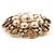 Vintage Wedding Imitation Pearl Crystal Brooch (Burn Gold Tone) - view 5