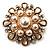 Vintage Wedding Imitation Pearl Crystal Brooch (Burn Gold Tone) - view 3