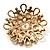 Vintage Wedding Imitation Pearl Crystal Brooch (Burn Gold Tone) - view 6