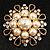 Vintage Wedding Imitation Pearl Crystal Brooch (Burn Gold Tone) - view 2