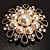 Vintage Wedding Imitation Pearl Crystal Brooch (Burn Gold Tone) - view 8