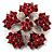 Hot Red Crystal Flower Brooch (Silver Tone)