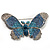 Gigantic Pave Swarovski Crystal Butterfly Brooch (Clear&Blue) - view 7