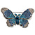 Gigantic Pave Swarovski Crystal Butterfly Brooch (Clear&Blue) - view 1