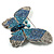 Gigantic Pave Swarovski Crystal Butterfly Brooch (Clear&Blue) - view 3