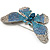 Gigantic Pave Swarovski Crystal Butterfly Brooch (Clear&Blue) - view 4