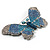Gigantic Pave Swarovski Crystal Butterfly Brooch (Clear&Blue) - view 8