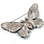 Gigantic Pave Swarovski Crystal Butterfly Brooch (Clear&Blue) - view 6
