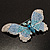 Gigantic Pave Swarovski Crystal Butterfly Brooch (Clear&Blue) - view 2