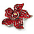 Small Hot Red Diamante Flower Brooch (Silver Tone) - view 6