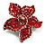 Small Hot Red Diamante Flower Brooch (Silver Tone) - view 3