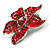 Small Hot Red Diamante Flower Brooch (Silver Tone) - view 7