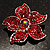 Small Hot Red Diamante Flower Brooch (Silver Tone) - view 2