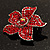 Small Hot Red Diamante Flower Brooch (Silver Tone) - view 5