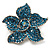 Small Light Blue Diamante Flower Brooch (Silver Tone)