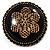 Vintage Button Shape Floral Brooch (Bronze Tone) - 40mm Width - view 4
