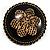 Vintage Button Shape Floral Brooch (Bronze Tone) - 40mm Width