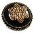 Vintage Button Shape Floral Brooch (Bronze Tone) - 40mm Width - view 2