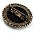 Vintage Button Shape Floral Brooch (Bronze Tone) - 40mm Width - view 6