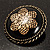Vintage Button Shape Floral Brooch (Bronze Tone) - 40mm Width - view 3
