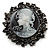Vintage Round Crystal Cameo Brooch & Pendant (Black Tone) - view 1