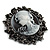 Vintage Round Crystal Cameo Brooch & Pendant (Black Tone) - view 2