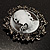 Vintage Round Crystal Cameo Brooch & Pendant (Black Tone) - view 5