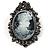 Vintage Cameo Brooch & Pendant (Black Tone)