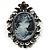 Vintage Crystal Cameo Brooch (Antique Silver Tone)