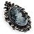 Vintage Crystal Cameo Brooch (Antique Silver Tone) - view 2