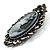 Vintage Crystal Cameo Brooch (Antique Silver Tone) - view 3