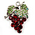 Swarovski Crystal Bunch Of Grapes Brooch (Burgundy Red &amp; Light Green, Silver Tone)