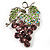 Swarovski Crystal Bunch Of Grapes Brooch (Lilac & Light Green, Silver Tone) - view 1
