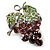 Swarovski Crystal Bunch Of Grapes Brooch (Lilac & Light Green, Silver Tone) - view 5