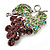 Swarovski Crystal Bunch Of Grapes Brooch (Lilac & Light Green, Silver Tone) - view 3