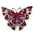 Fuchsia Crystal Filigree Butterfly Brooch (Silver Tone)