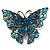 Azure Blue Crystal Filigree Butterfly Brooch (Silver Tone) - view 1